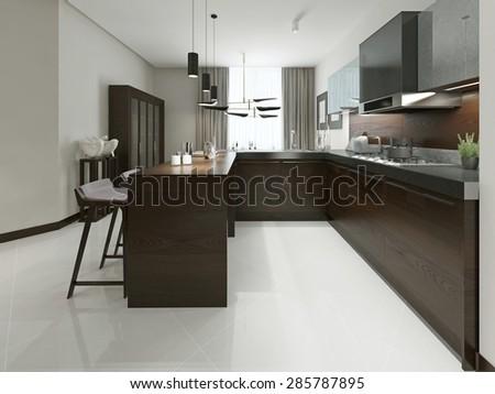 Interior Modern Kitchen Bar Bar Stools Stock Illustration 285787895 ...