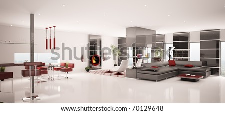 Interior of modern living dining room panorama 3d render - stock photo