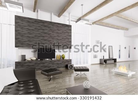 Interior of modern living room 3d rendering - stock photo