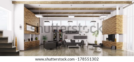 Interior of modern living room panorama 3d render - stock photo