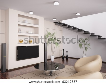 Interior of modern living room with armchairs and LCD 3d render - stock photo