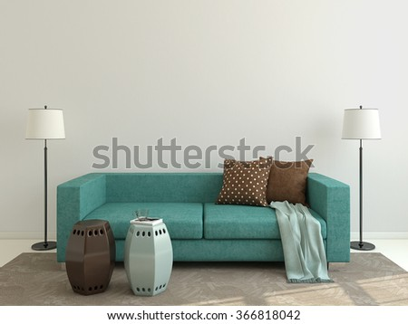 Interior of modern living-room with blue couch. 3d render. - stock photo