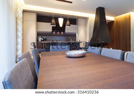 Interior of modern living room with fireplace - stock photo