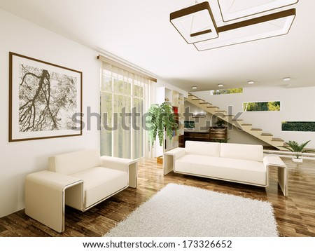 Interior of modern living room with staircase 3d render  - stock photo