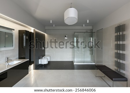 Interior of modern luxury bathroom in minimalistic style