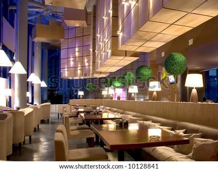 interior of modern nigt club or restaurant - stock photo