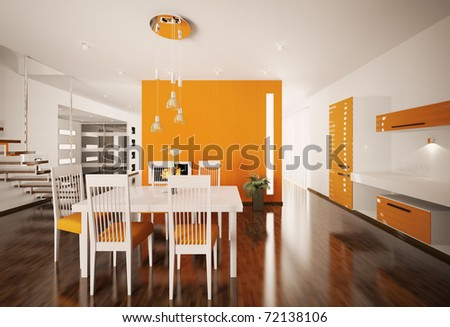 Interior of modern orange white kitchen 3d render