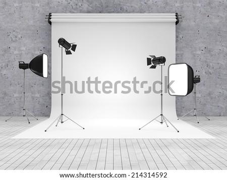 Interior of Modern Photo Studio with Equipment - stock photo