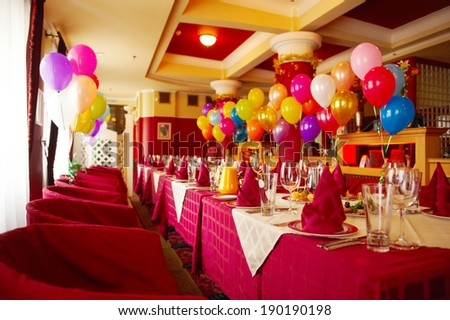 Interior Modern Restaurant Birthday Party Stock Photo Safe to Use