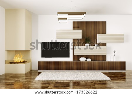 Interior of modern room with fireplace and lcd tv 3d render - stock photo
