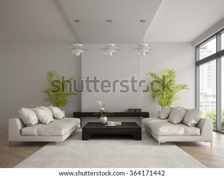 Interior of modern  room with two white sofas 3D rendering  - stock photo