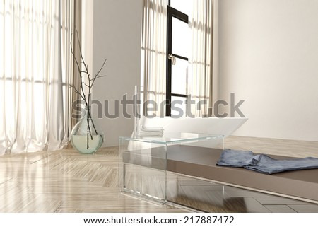 Interior of Modern White Bathroom in Apartment with Large Windows and Focus on Bench and Bathtub - stock photo