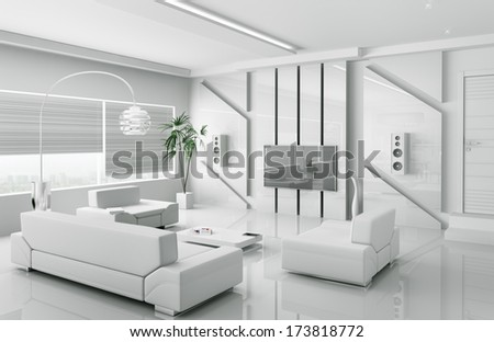 Interior of modern white living room 3d render - stock photo