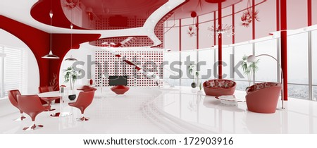 Interior of modern white red apartment panorama 3d render - stock photo