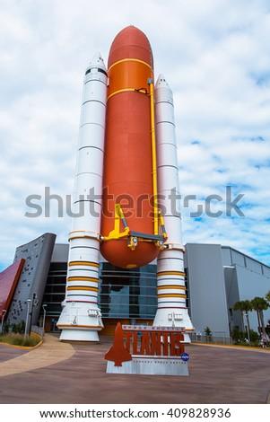 Interior of NASA Kennedy Space Center, Apollo Saturn V Center at Kennedy Space Center, Orlando, Florida. - stock photo