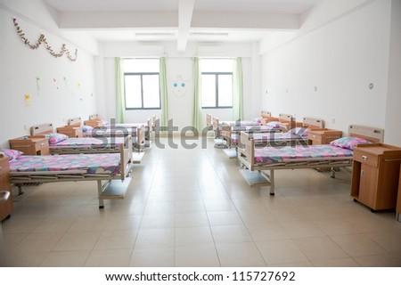 interior of new empty hospital room. - stock photo