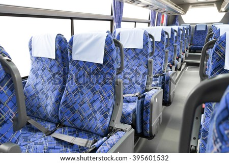 interior of new modern bus - stock photo