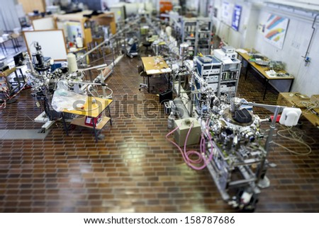 Interior of nuclear laboratory-ION accelerator-miniature effect - stock photo