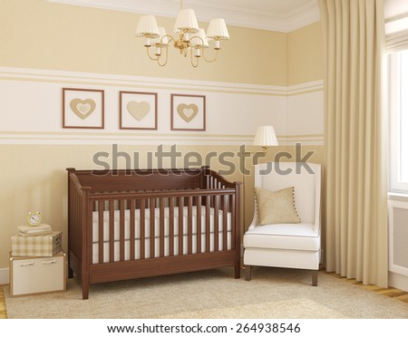 Interior of nursery. 3d render. - stock photo