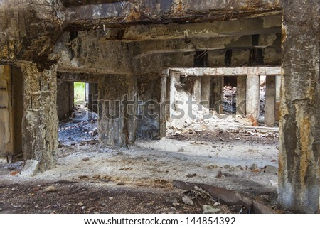 Interior of old abandon hall in Kalety - Paperworks. Poland, Silesia province.