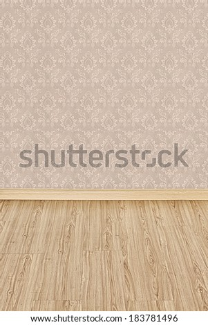 Interior of Old Room with a Wooden Floor and Brown Wallpaper - stock photo