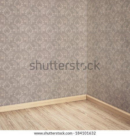 Interior of Old Room with a Wooden Floor and Brown Wallpaper Background