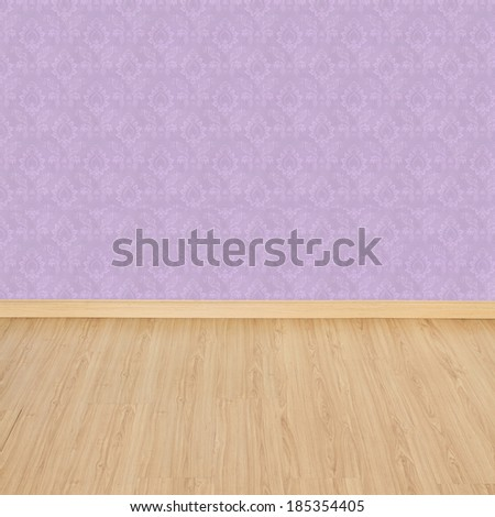 Interior of Old Room with a Wooden Floor and Pink Wallpaper