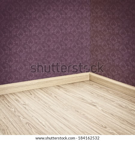 Interior of Old Room with a Wooden Floor and Purple Wallpaper - stock photo
