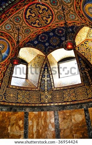 Interior of orthodox christian St. George church in Topola, Serbia - stock photo