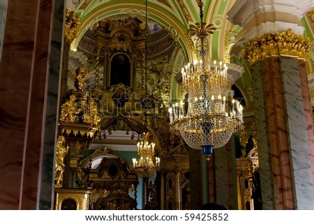 Interior of Peter and Paul cathedral, St.Peterburg, Russia - stock photo