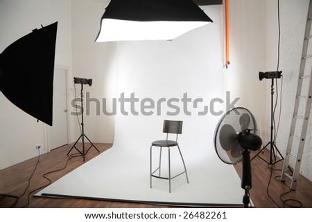 interior of photographic studio - stock photo