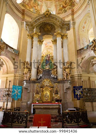 Interior of Pilgrimage Church of the Name of Virgin Mary - stock photo