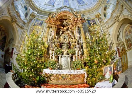 interior of pilgrimage church, Wambierzyce, Poland - stock photo