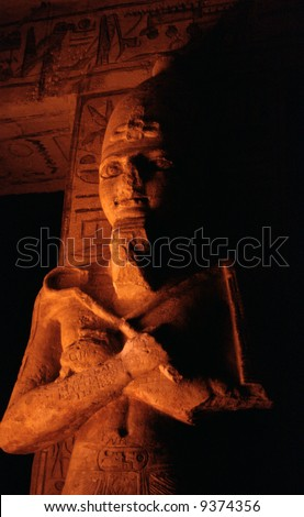 Interior of Ramses the second's temple in Abu Simbel - stock photo