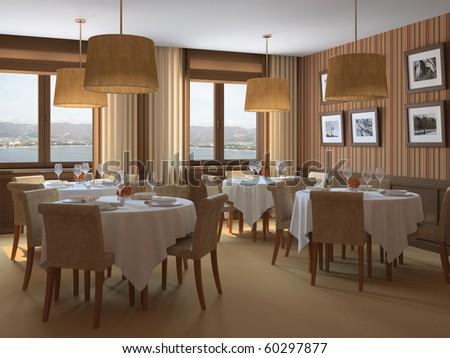 Interior of restaurant. 3d render. - stock photo