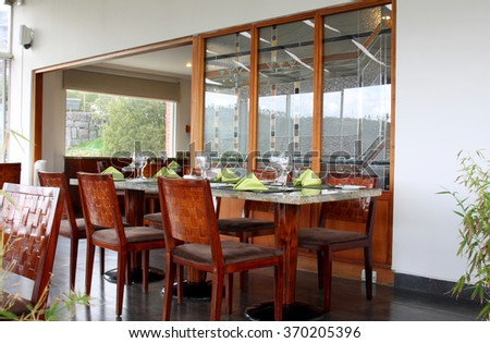 interior of restaurant: professional table setting in luxury european cafe  - stock photo