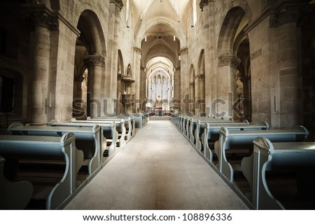 Interior of Roman Catholic cathedral in Alba Iulia, Romania - stock photo
