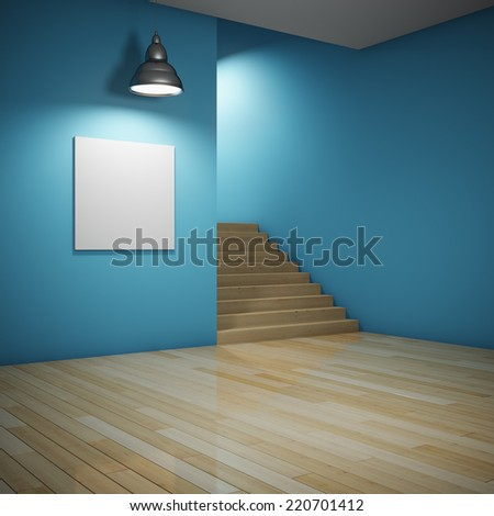 Interior of room with blank billboard and staircase leading up