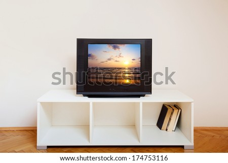 interior of room with tv - stock photo