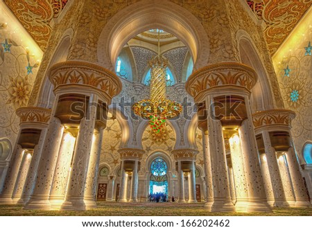 Interior of Shiekh Zayed Mosque, Abudhabi - stock photo