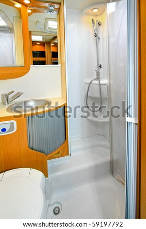Interior of shower cabin in recreation vehicle - stock photo