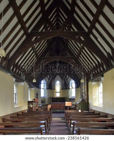 Interior of St John the Evangelist Church, Purton, Gloucestershire - stock photo