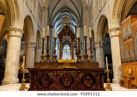 Interior of St. Michael and St. Gudula Cathedral, Brussels, Belgium - stock photo