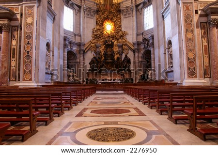 interior of St. Peter basilica, Vatican - stock photo
