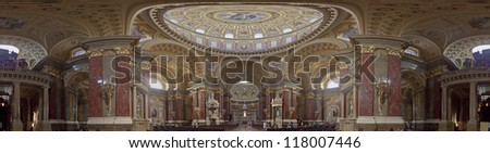 Interior of  St. Stephen's Basilica in Budapest, Hungary - stock photo
