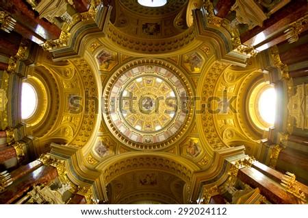 Interior of St Stephen's Basilica in Budapest - Hungary - stock photo