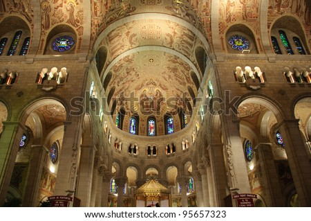 Interior of Ste-Anne-de-Beaupre Basilica, Canada - stock photo