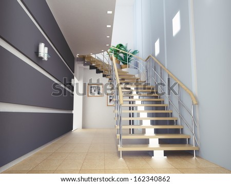 Interior of stylish modern house hall, staircase view  - stock photo