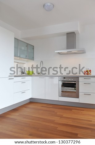 Interior of stylish modern house, kitchen - stock photo