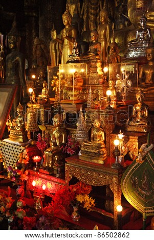 Interior of temple in Luang Prabang in Laos South East Asia - stock photo